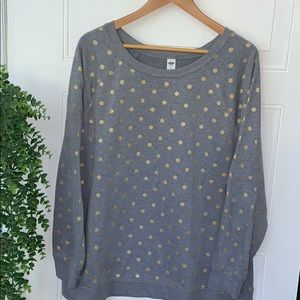 Old navy sweatshirt gray gold polka dots xxl new